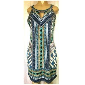 Hale Bob Tunic Mini Dress Geometric Aztec Print L